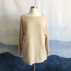 J. Crew Beige Ribbed Boatneck Tunic Sweater